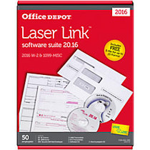 Office Wagon; Brand W-2/1099 Laser Tax Forms And Envelopes With LaserLink Software Suite 2016, 2-Up, 8 1/2 inch; x 11 inch;, Pack Of 50 Forms