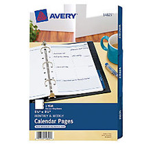 Avery Monthly/Weekly Calendar Refill Pages - Julian - Monthly, Weekly - 1 Year - 8:00 AM to 5:00 PM - 1 Week, 1 Month Double Page Layout - 5.50 inch; x 8.50 inch; - White - Appointment Schedule, Notepad, Hole-punched