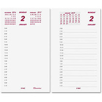 Brownline Calendar Pad Refill - Daily - 1 Year - January 2017 till December 2017 - 7:00 AM to 6:30 PM - 1 Day Double Page Layout - 6 inch; x 3.50 inch; - White - Paper - Reference Calendar