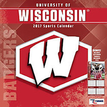 Turner Licensing; Team Wall Calendar, 12 inch; x 12 inch;, Wisconsin Badgers, January to December 2017