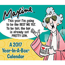 Year-In-A-Box; MAXINE™ Desk Calendar, 5 1/4 inch; x 6 1/8 inch;, January to December 2017