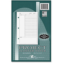 Roaring Spring 8-1/2x5-1/2 Project Planner Paper - 5.50 inch; x 8.50 inch; White - White - Hole-punched, Heavyweight, Notes Area