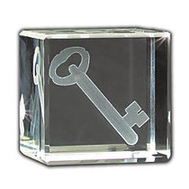 inch;You Are The Key inch; 3D Crystal Cube Paperweight