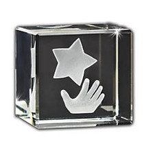 Star Polisher 3D Crystal Cube Paperweight