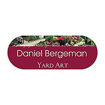 Full-Color Shaped Name Badge, 1 1/8 inch; x 3 inch;, Rounded Rectangle
