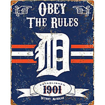 Party Animal Detroit Tigers Embossed Metal Sign
