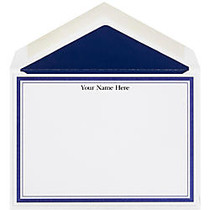 The Occasions Group Stationery Note Cards, 4 1/2 inch; x 6 1/4 inch;W, Flat, Midnight Double Border, White Matte, Box Of 25
