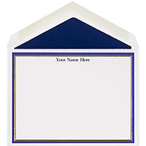The Occasions Group Stationery Note Cards, 4 1/2 inch; x 6 1/4 inch;W, Flat, Midnight Gold Double Border, White Matte, Box Of 25