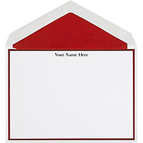 The Occasions Group Stationery Note Cards, 4 1/2 inch; x 6 1/4 inch;W, Folded, Claret Border, White Matte, Box Of 25
