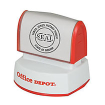 Office Wagon; Brand Pre-Inked Notary Round Stamp, 1 9/16 inch; Diameter