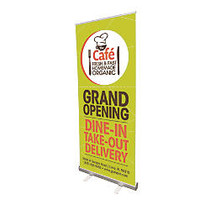 Vertical Retractable Indoor Banner With Stand, 32 inch; x 79 inch;