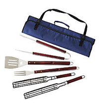 TJ Riley & Co 7-Piece BBQ And Kabob Set With Tote, Navy