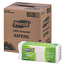 Marcal; 100% Recycled Paper Luncheon Napkins, 12 1/2 inch; x 11 1/4 inch;, White, 1 Ply, 400 Napkins Per Pack, 6 Packs Per Carton.