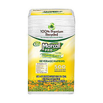 Marcal; Pro 1-Ply Beverage Napkins, 9 3/4 inch; x 9 1/2 inch;, 100% Recycled, White, 500 Napkins Per Pack, Carton Of 8 Packs