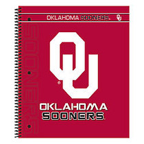 Markings by C.R. Gibson; Notebook, 9 1/8 inch; x 11 inch;, 3 Subject, College Ruled, 300 Pages (150 Sheets), Oklahoma Sooners