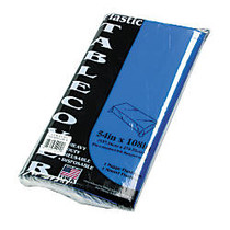 Tablemate Plastic Rectangular Table Covers, 54 inch; x 108 inch;, Blue, Pack Of 6