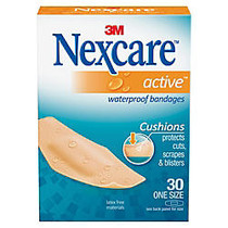 Nexcare™ Active Waterproof Bandages, 1 1/8 inch; x 3 inch;, Tan, Box Of 30