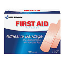 PhysiciansCare First Aid Plastic Bandages, 1 inch; x 3 inch;, Box Of 100