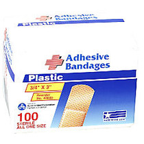 PhysiciansCare First Aid Plastic Bandages, 1 inch; x 3 inch;, Box Of 50