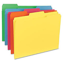 Sparco Top Tab File Folder - Letter - 8 1/2 inch; x 11 inch; Sheet Size - 1/3 Tab Cut - Assorted Position Tab Location - 11 pt. Folder Thickness - Red, Green, Yellow, Orange, Blue - Recycled - 100 / Box