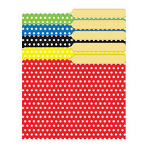 Top Notch Teacher Products Mini File Folders, 4 inch; x 6 inch;, Assorted Polka Dots, 6 Packs Of 25