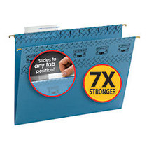 Smead; TUFF; Hanging Folders With Easy Slide™ Tabs, Letter Size, Blue, Pack Of 18