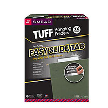 Smead; TUFF; Hanging Folders With Easy Slide™ Tabs, Letter Size, Standard Green, Box Of 20
