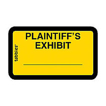 Tabbies Plaintiff's Exhibit Legal File Labels - 1.62 inch; Width x 1 inch; Length - Yellow - 252 / Pack