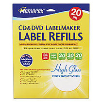 Memorex; Inkjet CD/DVD Photo Gloss Labels, 4 1/2 inch; Diameter, White, Pack Of 20