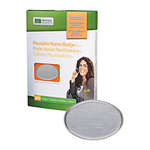 The Mighty Badge™ Reusable Name Badge Kit, 2 3/5 inch; x 1 7/10 inch;, Silver, Pack Of 100