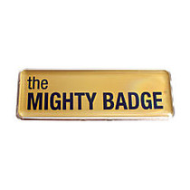 The Mighty Badge™ Reusable Name Badge System, 1 inch; x 3 inch;, Inkjet Printer Compatible, Gold, Pack Of 10