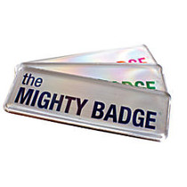 The Mighty Badge™ Reusable Name Badge System, 1 inch; x 3 inch;, Inkjet Printer Compatible, Silver, Pack Of 10