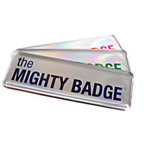 The Mighty Badge™ Reusable Name Badge System, 1 inch; x 3 inch;, Laser Printer Compatible, Silver, Pack Of 10