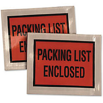 Quality Park Full Print Slf Adhsv Pack List Envlps - Document - 5.50 inch; Width x 4.50 inch; Length - Self-adhesive Seal - Poly - 100 / Box - Clear, Orange