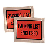 Quality Park Packing List Envelope - Packing List - 5.50 inch; Width x 4.50 inch; Length - 1000 / Carton - Orange