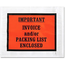 Sparco Pre-labeled Important Invoice Envelopes - Packing List - 5.50 inch; Width x 4.50 inch; Length - 70 g/m² - Self-adhesive Seal - Paper, Low Density Polyethylene (LDPE) - 1000 / Box - White