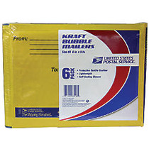 USPS; Premium Kraft Bubble Mailers, #0, 6 inch; x 9 inch;, Pack Of 6