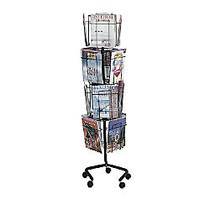 Safco; Wire Rotary Literature Display, 61 1/4 inch;H x 15 inch;W x 15 inch;D, 16 Pockets, Charcoal