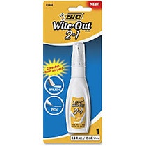 Wite-Out 2-in1 Correction Fluid - Tip, Brush Applicator - 0.51 fl oz - White - Quick Drying - 1 Each