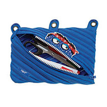 ZIPIT; Monster 3-Ring Pencil Pouch, 6 inch;H x 9 inch;W x 3/4 inch;D, Blue
