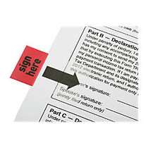 SKILCRAFT; Self-Stick Flags, Rectangular,  inch;Sign Here inch;, 1 inch; x 1 3/4 inch;, Red, Pack Of 100 (AbilityOne 7510-01-389-2262)
