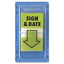 Sparco  inch;Sign & Date inch; Preprinted Self-Stick Flags, 1 inch; x 1 3/4 inch;, Green, Pack Of 100