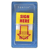 Sparco  inch;Sign Here inch; Preprinted Self-Stick Flags, 1 inch; x 1 3/4 inch;, Yellow, Pack Of 100