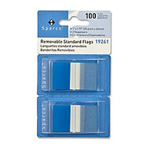 Sparco Removable Standard Flags In Pop-Up Dispenser, 1 3/4 inch; x 1 inch;, Blue, Pack Of 100