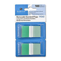 Sparco Removable Standard Flags In Pop-Up Dispenser, 1 3/4 inch; x 1 inch;, Green, Pack Of 100
