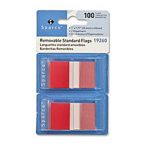 Sparco Removable Standard Flags In Pop-Up Dispenser, 1 3/4 inch; x 1 inch;, Red, Pack Of 100