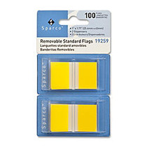 Sparco Removable Standard Flags In Pop-Up Dispenser, 1 3/4 inch; x 1 inch;, Yellow, Pack Of 100