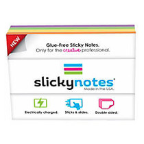 Slickynotes Self-Stick Notes, 3 15/16 inch; x 2 15/16 inch;, Assorted Colors, 100% Recycled, 95 Sheets Per Pad, Pack Of 4 Pads