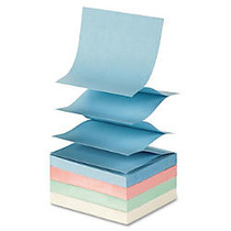 Sparco Fanfold Pop-up Adhesive Pastel Note Pads - 100 - 3 inch; x 3 inch; - Square - Unruled - Pastel Assorted - Pop-up, Solvent-free Adhesive, Fanfold, Repositionable - 12 / Pack
