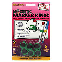 The Stikkiworks Co. Magnetic Rings For Medium And Large-Barrel Markers, Green, 6 Packs Of 6